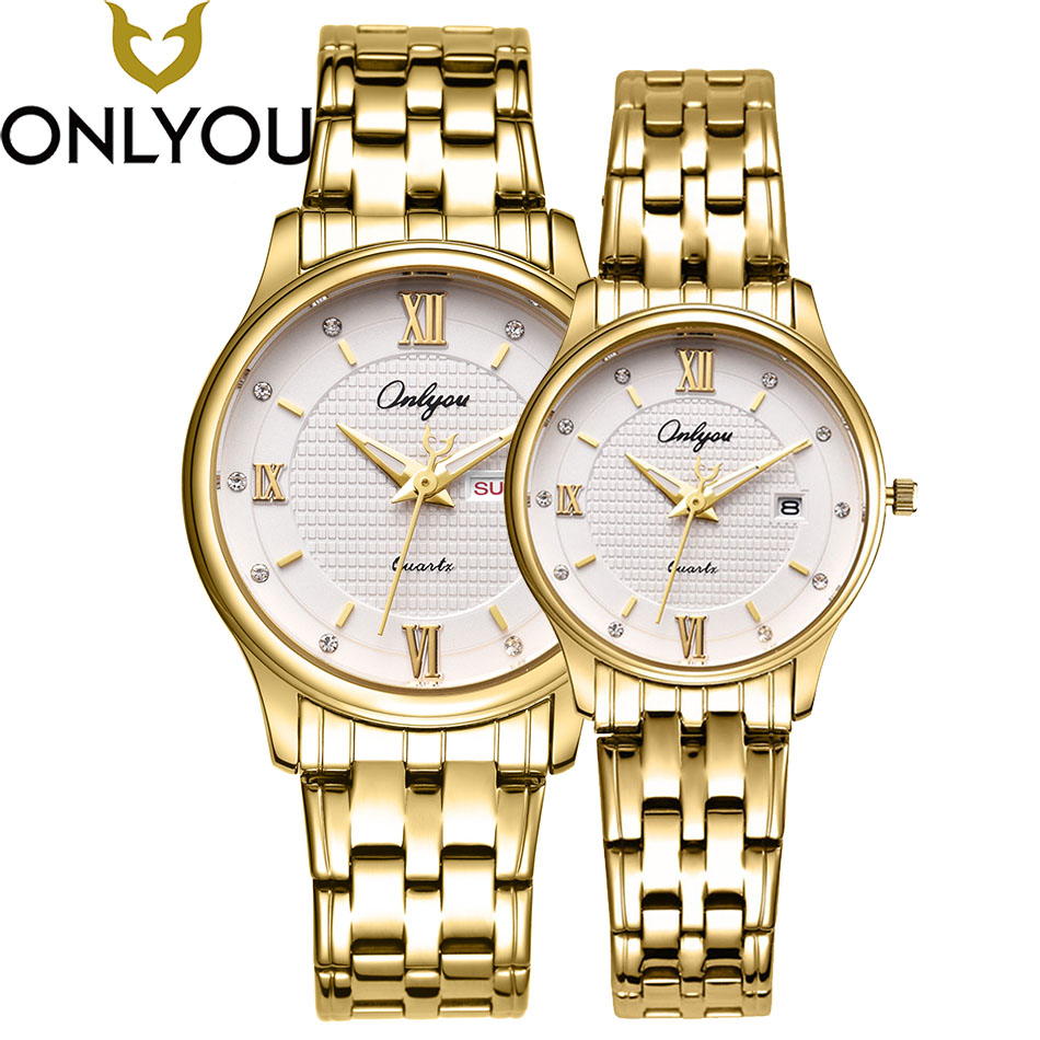 ONLYOU Women Stainless Steel Gold Watch Mens Watches 2017Top Brand Luxury Wristwatches Lovers Thin Simple Watches Couple Clock onlyou luxury brand fashion watch women men business quartz watch stainless steel lovers wristwatches ladies dress watch 6903