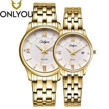 Onlyou Для женщин Нержавеющаясталь золотые часы мужские Часы 2017top Роскошные брендовые Наручные часы любителей тонких простой Часы пару часов