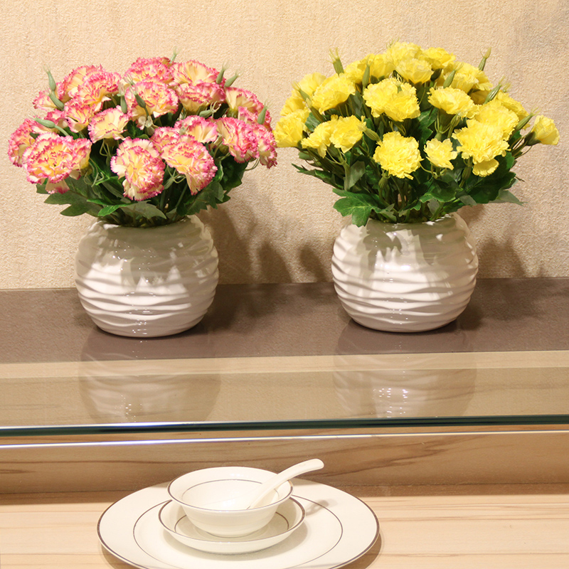 Simulation carnations plants Potted set Artificial Silk flowers Small bonsai green plants pot culture Mother 39s day giftHome D in Artificial Dried Flowers from Home Garden