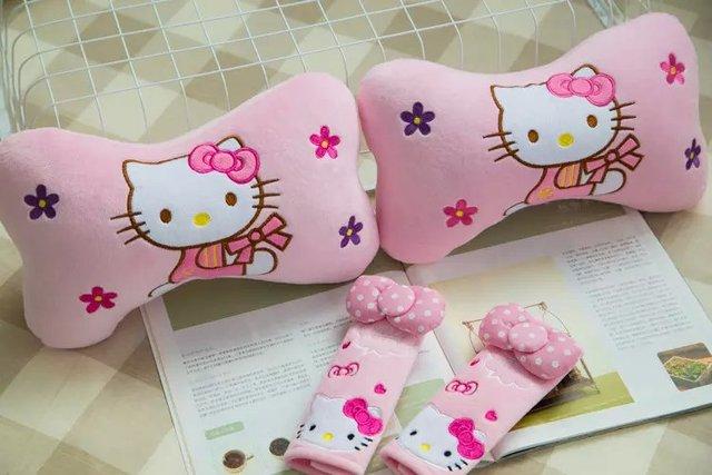 1 pair 27cm pink hello kitty cat flower plush car bone neck pillow 1 pair 27cm pink hello kitty cat flower plush car bone neck pillow safety belt cover mightylinksfo