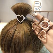 New Women Cute Circle Square Heart Pearls Elastic Hair Bands Scrunchies Ropes Ponytail Holder Rubber Accessories