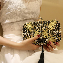 2017 New Luxury Diamond Tassel Beaded Evening Clutch Bag Embroidery Shape Rhinestone Clutch Purse Handbags Bolsa Feminina