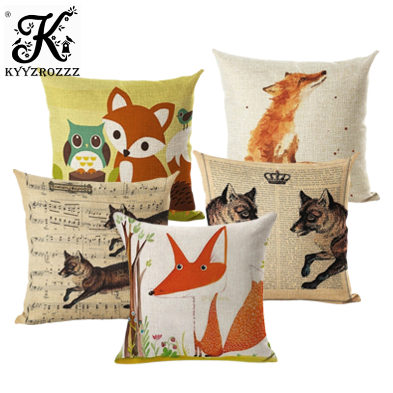Christmas Nordic Pillowcase Lovely Animal Fox Decorative Cushion Cover Cotton Linen Throw Pillow Cover Cojines Almofadas 45x45cm