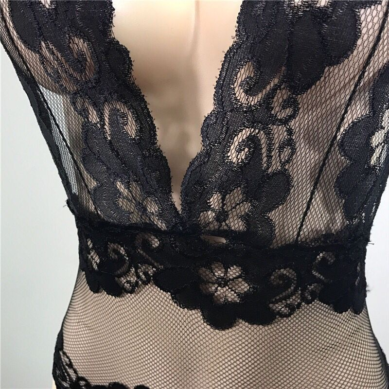 Hot Sell sexy lace women body suit Erotic backless fish net lace female lingerie Teddies underwear exotic costumes porn jumpsuit in Teddies Bodysuits from Novelty Special Use