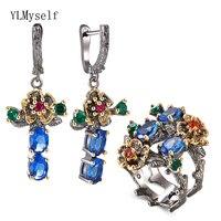 Blue Crystal Earrings Ring Jewellery Set Leaf Dangle Earrings Multi Zirconia Flower Pretty 2pcs Jewelry Sets for Women