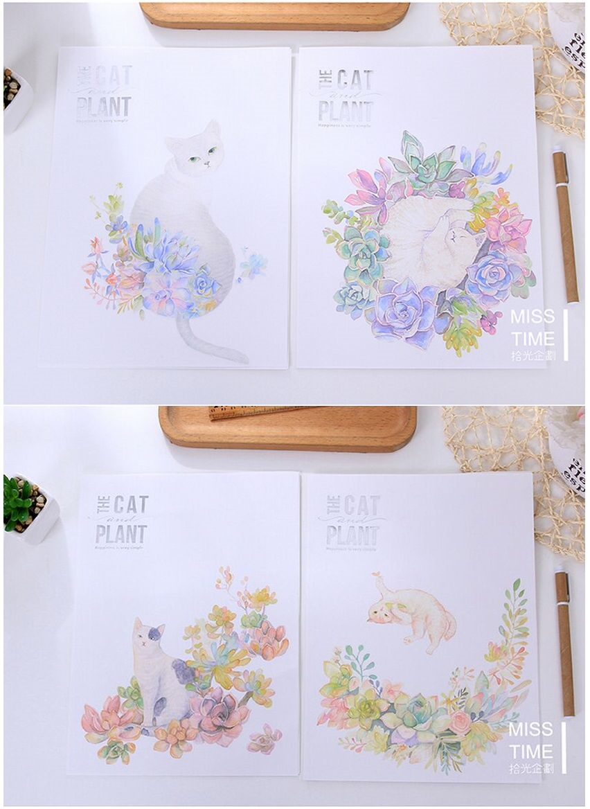 popular plant writing paper buy cheap plant writing paper lots hand draw forest plants cartoon cat life letter pad paper 6 sheets letter paper 3