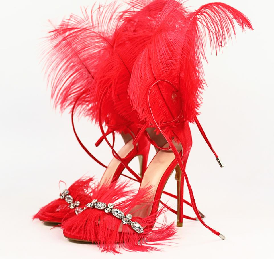Europe and the United States new sexy catwalk shoes rhinestone feathers nightclub high heels open toe stiletto large size sandalEurope and the United States new sexy catwalk shoes rhinestone feathers nightclub high heels open toe stiletto large size sandal