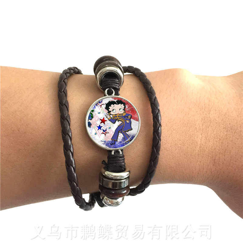 Classic Sexy And Lovely Betty Boop Pattern Leather Bracelet Charm 20mm Glass Dome Bracelet Handmade Jewelry For Women Men