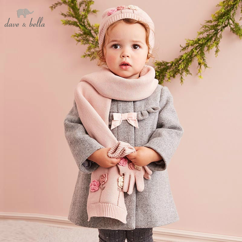 DB5721 dave bella autumn winter baby girls wool jacket children fashion outerwear kids toddler high quality