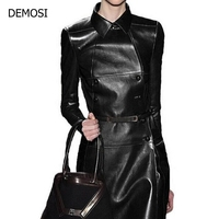2018 Autumn Hot Sale Personalized Punk High Quality Long Overcoats Sheepskin Genuine Leather Double Breasted Euro