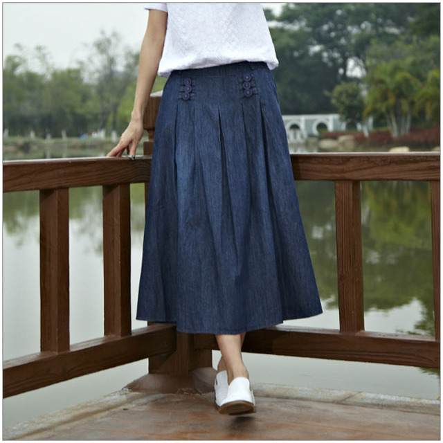 277236cea12f Natural Jean Skirts Women Elastic Waist Blue Jean Skirts Girls A line Big  Hem jupe dark Blue saia Female skirts Solid
