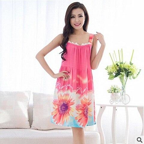 Plus Size Nightgowns Women Sexy Spaghetti Strap Night Dress Summer Elegant Night Gowns Ladies Sleepshirts Cotton Sleepwear 4