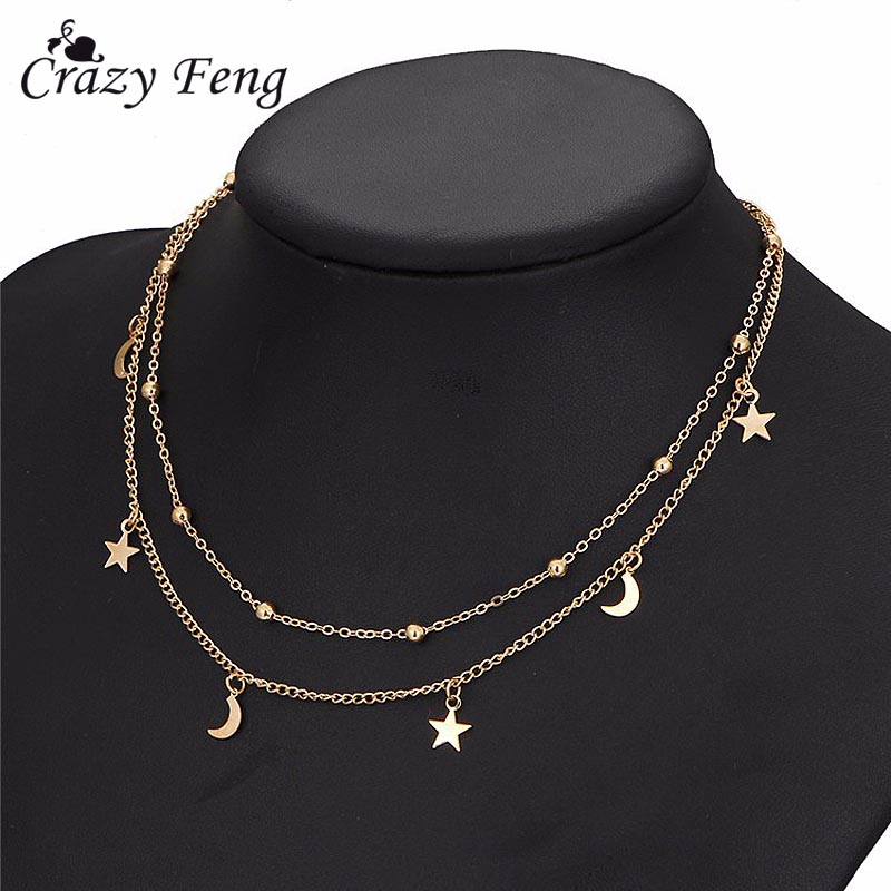 Cute Moon Stars Beads Charms Romantic Chain Necklaces Double Chain Gold-color Women Fashion Necklace For Wedding Party Jewelry