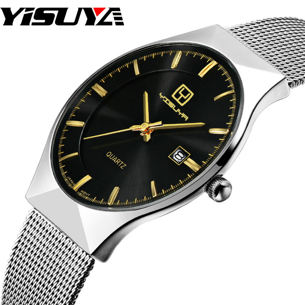 YISUYA Luxury Ultra-thin Black Calendar Mens Watch High Quality Quartz-watch Male Simple Hook Buckle Hour Relogio Masculino 2017 ultra black