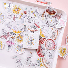 45Pcs/box Cute rabbit Mini Decoration Paper Sticker DIY Scrapbook Notebook Album Sticker Stationery Kawaii Girl Stickers 50pcs box travel building decoration stickers mini paper decoration diy scrapbook notebook album sticker stationery girl sticke