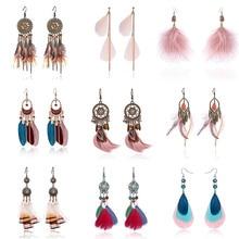RINHOO Ethnic Feather Tassel Dangle Earrings Vintage Bohemian Leaves Stars Ear Hook Drop Earrings Women Brincos Female Jewelry bohemian feather fake gem hook earrings