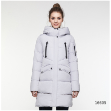 ICEbear Women's Winter Parkas 2018 Zippers Casual Cotton Padded Jackets Slim Solid Woven Thickening Medium-Long Coat 16G6155D