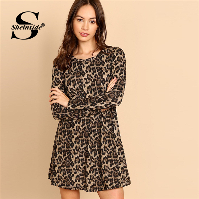 f3a7e8b15f55 Sheinside Elegant Leopard Print Mini Dresses Long Sleeve Round Neck A Line  Ladies Dress 2018 Autumn Womens Casual Shift Dresses