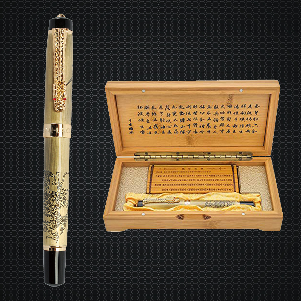 купить Luxury Jinhao Metal Dragon Fountain Pen Vintage 0.5MM Nib Ink Pens for Writing Business Gift Office Supplies with Gift Box по цене 1625.82 рублей