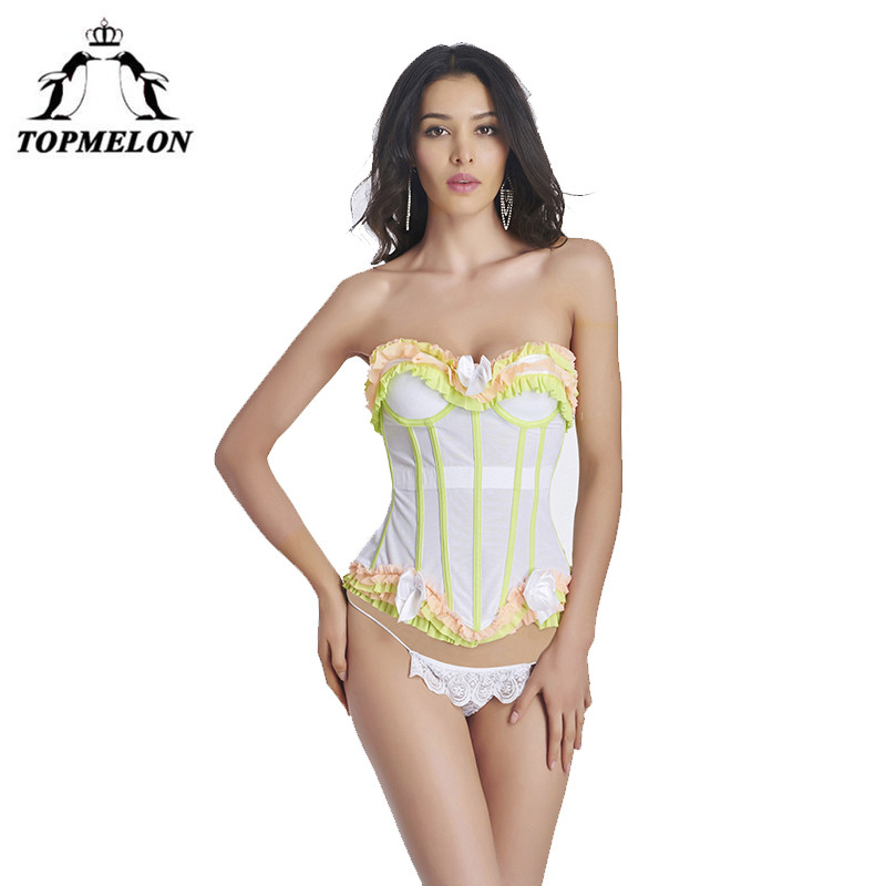 e40ed18dfa TOPMELON Women Sexy Push Up Bustiers Lace Steampunk Corsets Waist Trainer  Punk Gothic Corselet Sexy Backless