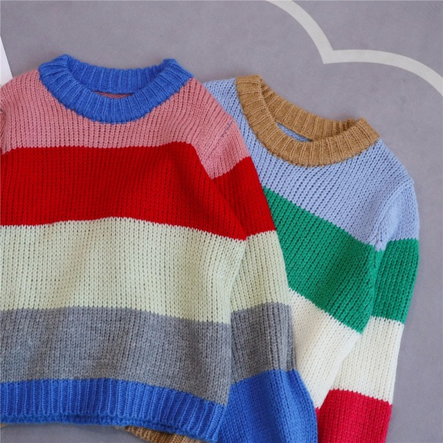 Lantern sleeve rainbow striped mohair sweater women pullovers o-neck loose knitted 2018 autumn new arrivals S,M,L 4