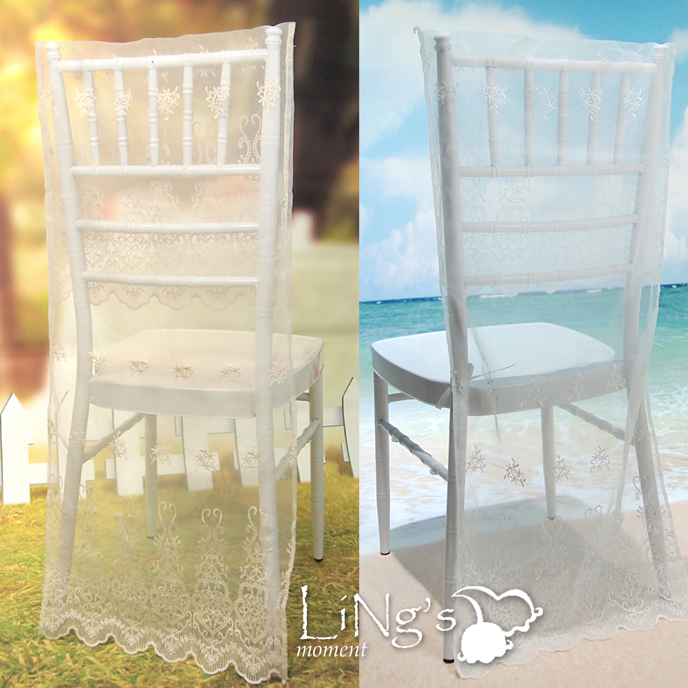 Bamboo wedding chairs - Minimalist Style White Lace Coverings Back Garden Bamboo Chair Special Wedding Banquet Celebration Activities Cover