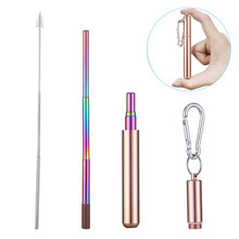 Portable Stainless Steel Telescopic Drinking Straw For Travel Reusable Collapsible Metal Drinking Straw With Case And Brush(China)
