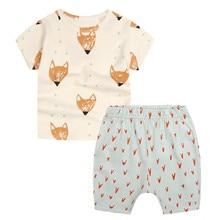 Funfeliz Summer Children Clothing Set Baby Boy Tracksuits Cotton Kids 2PC Sports Suit Short Sleeve T-shirt Toddler Girls Clothes стоимость