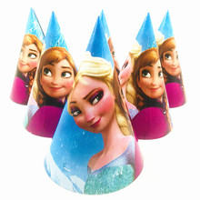 Frozen Elsa And Anna Disposable Paper Hat Cap birthday party hat Kid Boy Birthday Party supplies decoration 6pcs/set