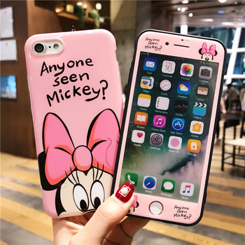 JAMULAR 360 Full Cover Mickey Minnie  Phone Case +Screen Protector For iPhone 7 XS MAX XR 10 8 6 6s Plus Girl Cartoon TPU Coque iphone 6s plus winnie the pooh case