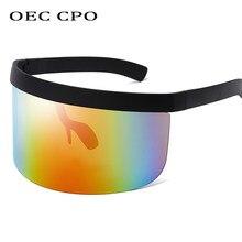 OEC CPO moda güneş gözlükleri kadın erkek marka tasarım gözlüğü güneş gözlüğü büyük çerçeve kalkan Visor erkekler rüzgar geçirmez gözlük O44
