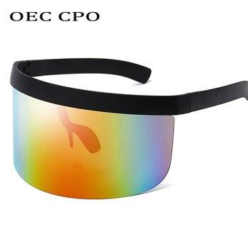 OEC CPO Fashion Sunglasses Women Men Brand Design Goggle Sun Glasses Big Frame Shield Visor Windproof O44