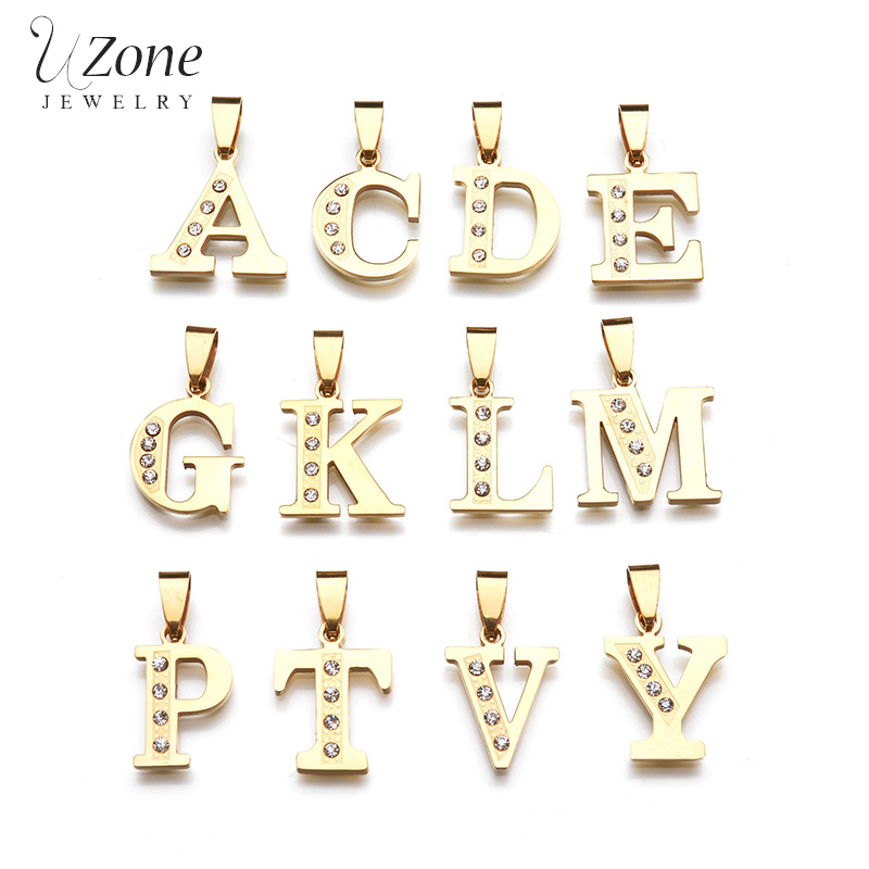 Simple Alfabet Initial Letter Necklaces Pendant Gold Color Crystal Stainless Steel Chain Necklace Women Kolye Collier letra g bem bonita