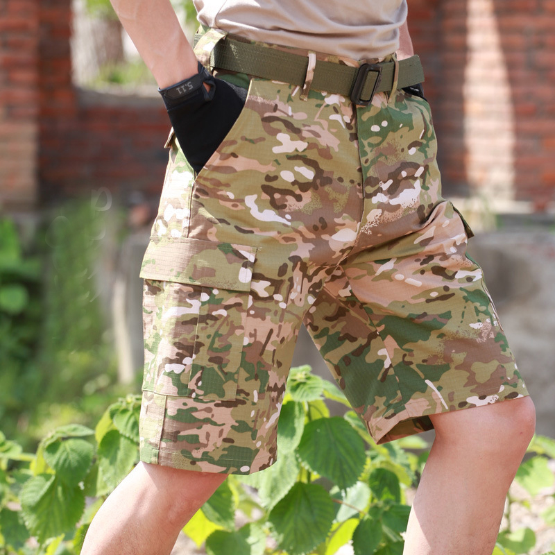 Summer Men's Camouflage Loose Cargo Tactical Shorts Outdoor Sports Hunting Camping Climbing Training Knee Length Short Trousers