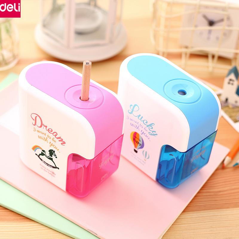 Deli Automatic Electric Pencil Sharpener Cute Cartoon Sharpener Machine Helical Steel Blade Office School Supplies(Blue,Pink) silver side tarot board game cards game full english edition blue eye tarot board game for family friends