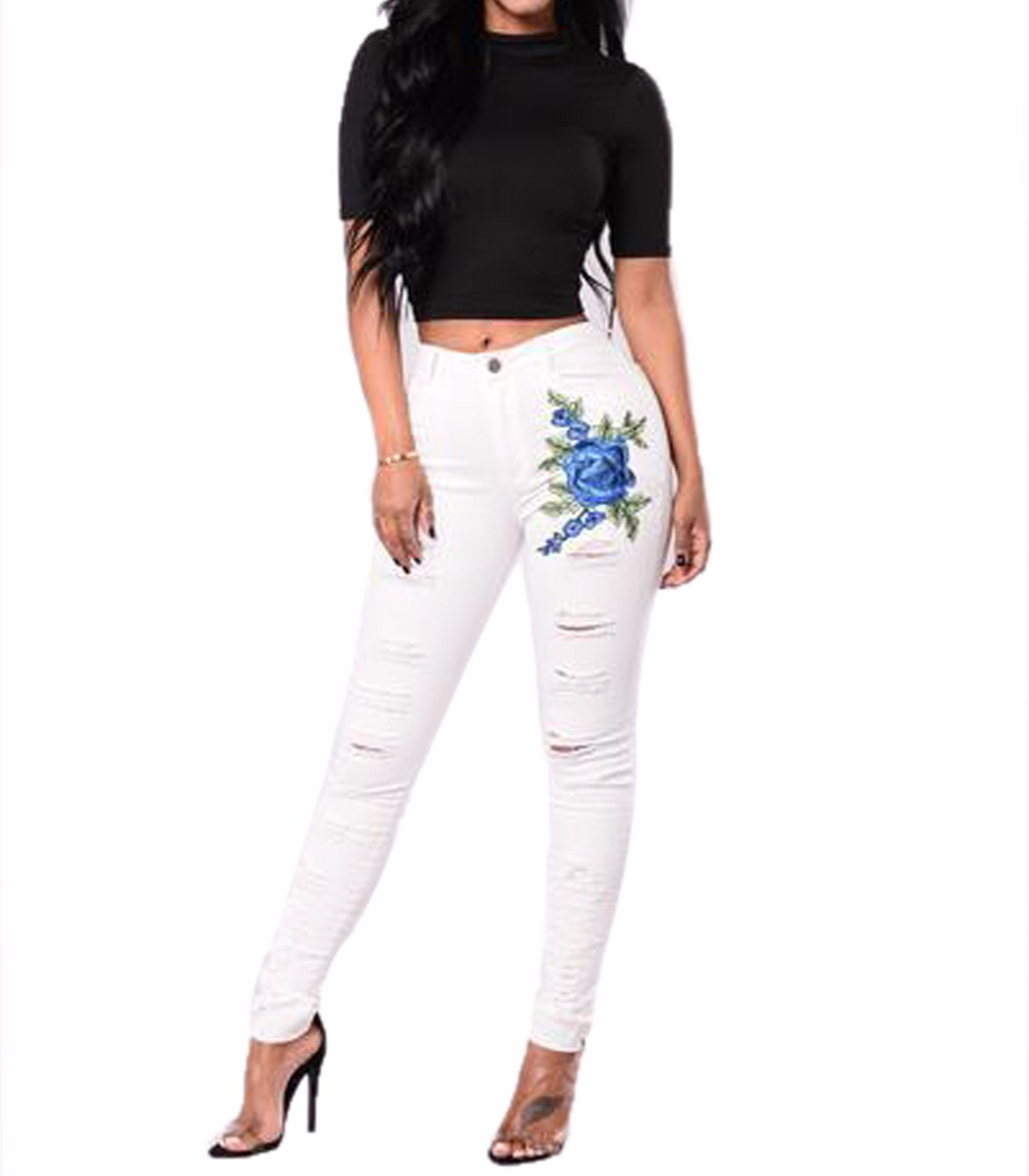 Hot Sexy White Embroidered Jeans Usa Sexy Ladies Leggings Sex Photo Women Jeans
