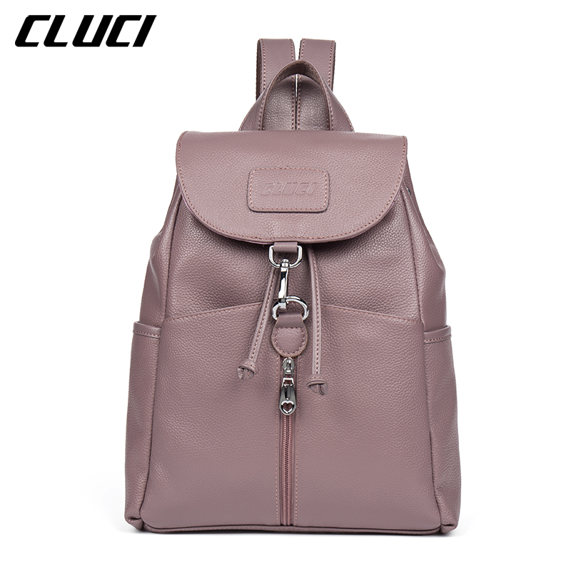 CLUCI Daypacks Genuine Leather Fashion Cover String Blue Pink Purple Beige Backpacks For Teenage Girls School