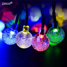 ZINUO 6M 30LEDs Solar Powered Crystal Ball LED Fairy Light Led String Lighting for Wedding Christmas Party Festival Outdoor