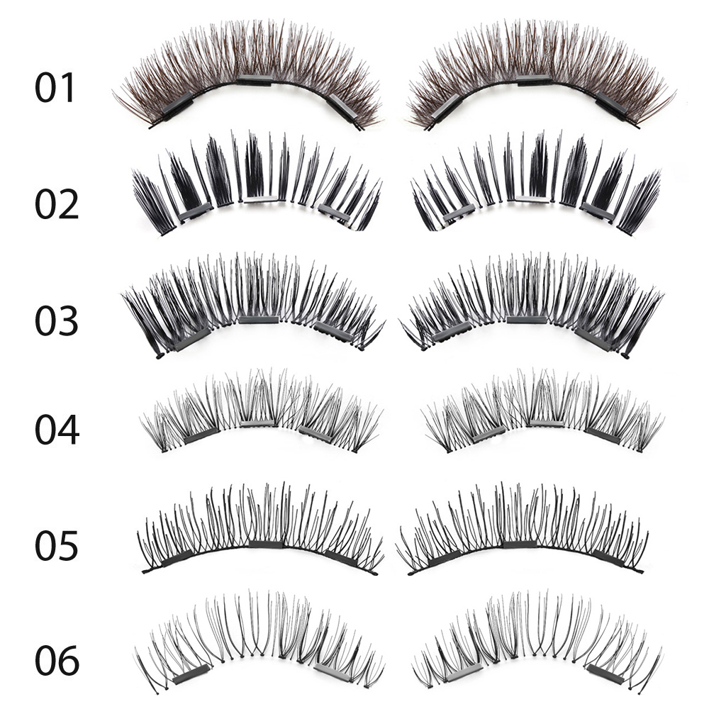 1 Set 3D Triple Black/Brown Magnetic False Eyelashes Soft Full Stripe Magnet Eye Lashes Beauty Makeup Extension Tools Wimpers