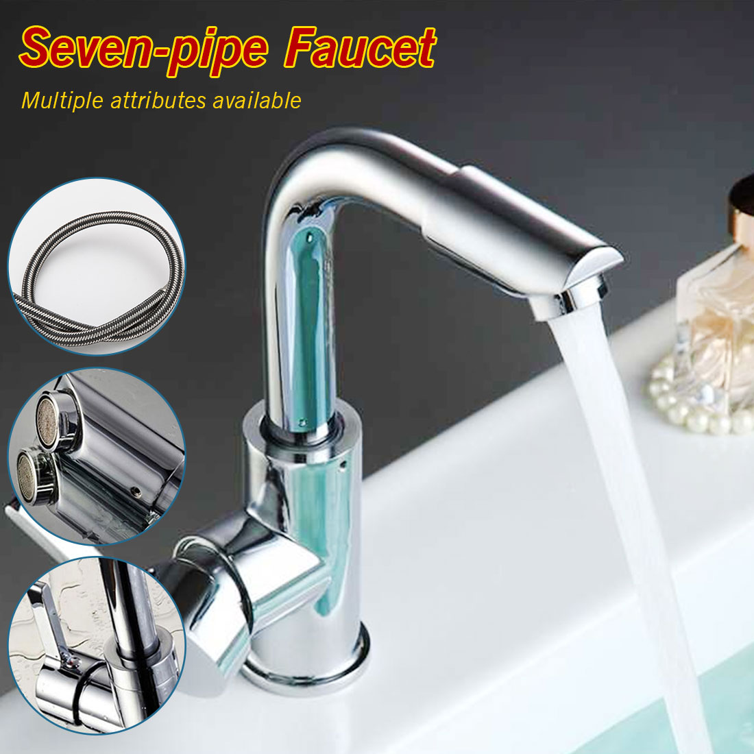 Bathroom Faucets Mixer 360 Degree Swivel Easy Wash for Basin Sink and Kitchen Faucet with 60cm hoses(China)