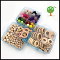 DIY box set of 3  teether baby nursing accessory wooden beech rattles crochet beads baby Nursing necklace, baby gift  WC065