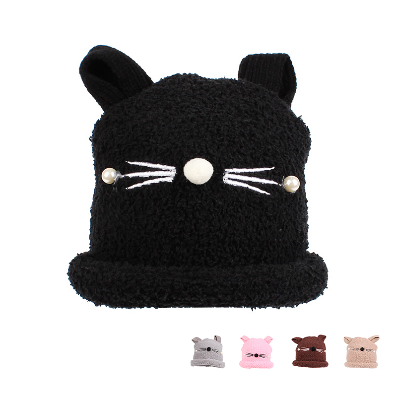 Cat Baby Hat For Girls Newborn Photography Props Cute Soft Children Hat With Ears Cotton Solid Winter Warm Baby Beanie For Girls