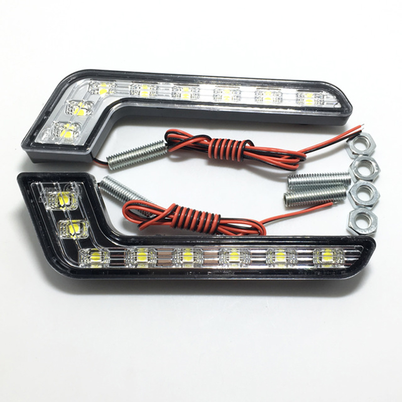1Pair 8LED 7 Shape Car <font><b>LED</b></font> Daytime Running Lights DRL White <font><b>Fog</b></font> <font><b>Lamp</b></font> for 12V Vehicles Audi Mercedes Kia image