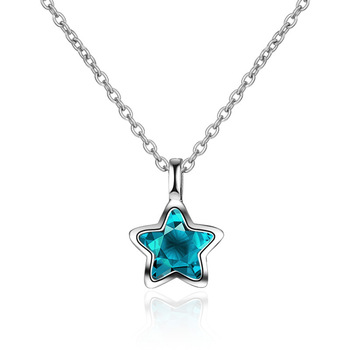 Pure 925 sterling silver fashion blue crystal star ladies`short chain female pendant necklace jewelry Christmas gift no fade
