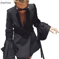 Negro Elegante Trabajo OL Traje Chaqueta Mujer chaqueta Ocasional manga de la llamarada Medio Extraíble Largo Sexy Capa Del Estilo de Corea S20