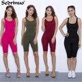 Mulheres Verão Bodysuit Rompers Macacão Womens 2017 Sexy Sem Encosto Sem Mangas Playsuit Bodycon Bandage Macacões curtos macacão