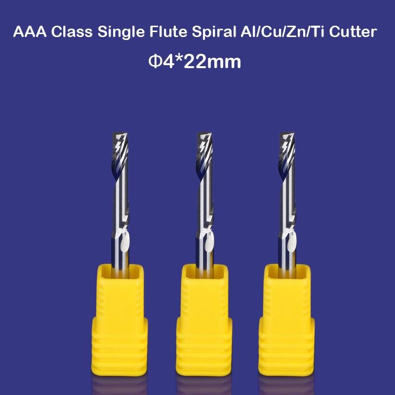 Free Shipping 3pcs/lot New 4mm HQ Carbide CNC Router Bits Single Flute Aluminum Cutting Tools 22mm