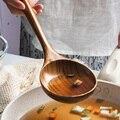 KINGLANG натуральная ложка для дома, древесные ложки с длинной ручкой, большая ложка для супа, коммерческая ложка для каши - фото