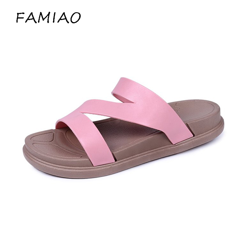FAMIAO 2018 New Fashion Summer Cork Slipper Sandals Women Casual Beach Mixed Color Flip Flops Slides Shoe Flat With Shoes women cork slipper flip flops sandals women mixed color bohemia thick bottom slides shoes open toe flat summer style plus size 8