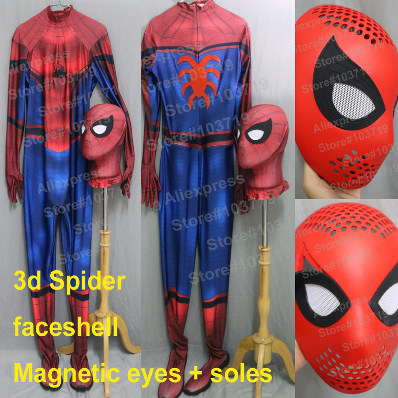 Linglong High Quality Newest Civil War Spiderman Spandex Suit Tom Spiderman Costume With 3D <font><b>Spider</b></font> With Faceshell Soles #<font><b>2</b></font>